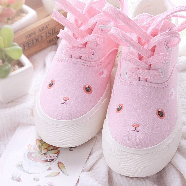 Pink Cartoon Hand Painted Canvas Shoes