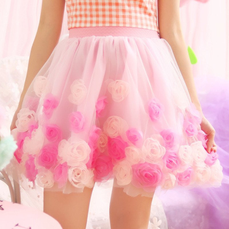 Sweet Rose Flower Tutu Skirts KW179845