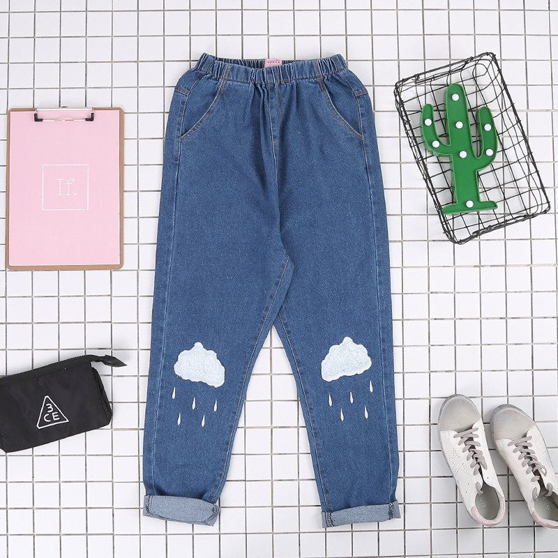 Blue Clouds Printed Jeans KW179325 - kawaiimoristore