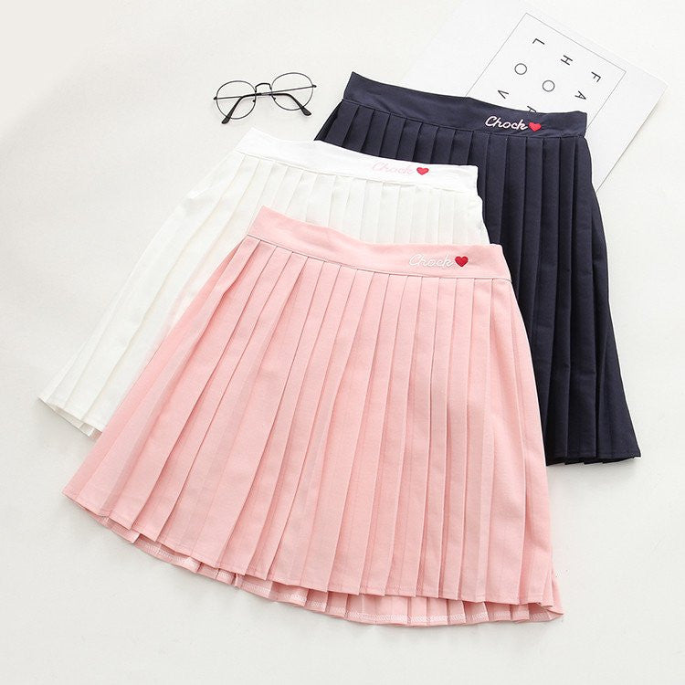 Pink/White/Navy Heart Pleated Skirts KW179958