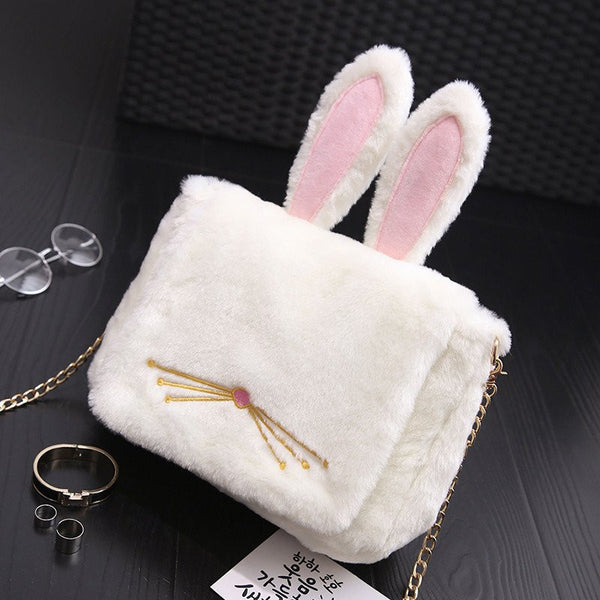 Beige Bunny Ear Plush Bag