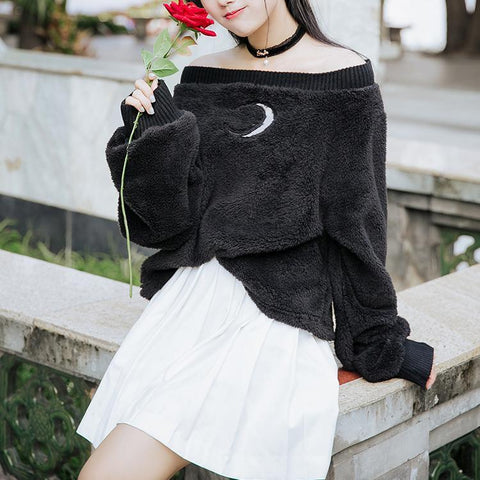 Black/White Dew Shoulder Sweatshirt KW1711573