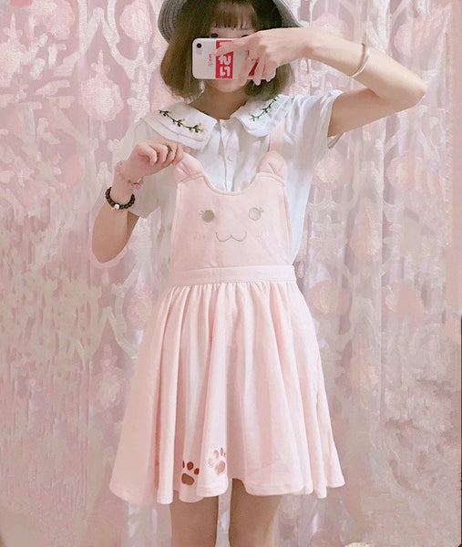Cute Kawaii Cat Embroidery Dress KW179689