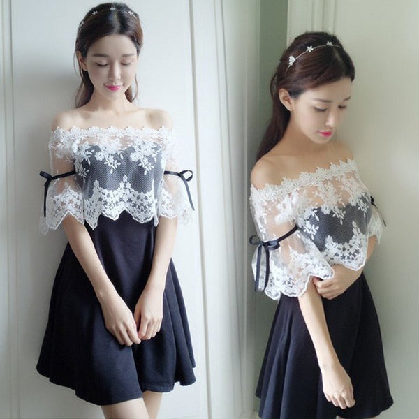 Sweet Lace Off Shoulder Dress KW1710037 - kawaiimoristore