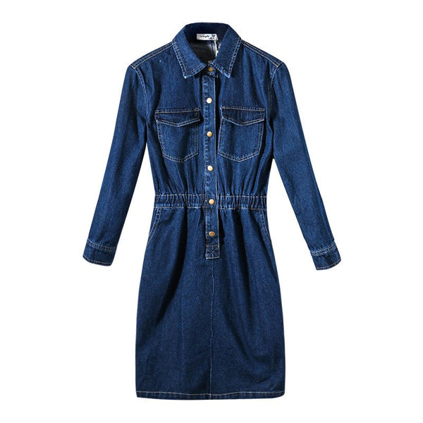 Korean Fashion Retro Demin Long-sleeved Elastic Waist Lapel Dress