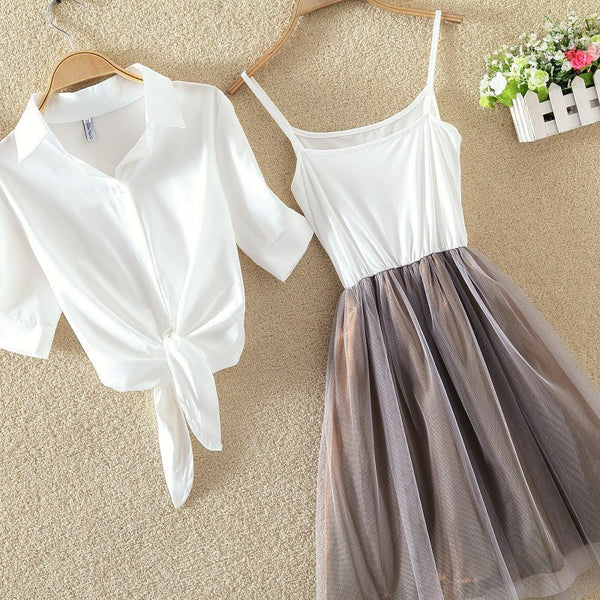 Sweet shirt + skirt two-piece outfit KW179450