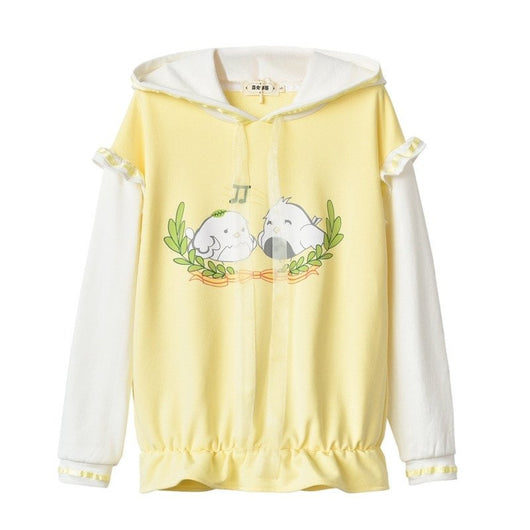 Yellow cartoon printing hoodie pullover