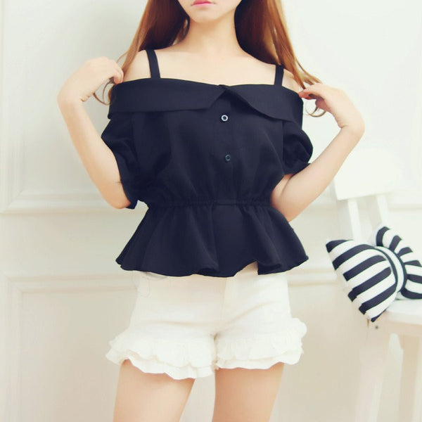 Kawaii Condole Belt Off-the-shoulder Blouse KW179207
