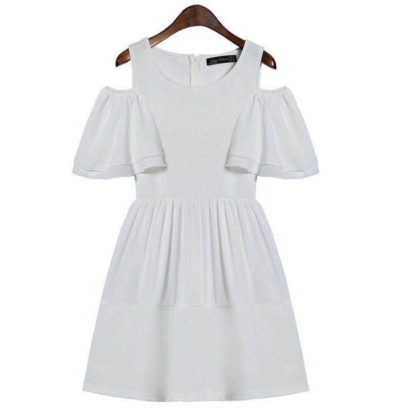 White Sweet Dew Shoulder Dress KW1710201