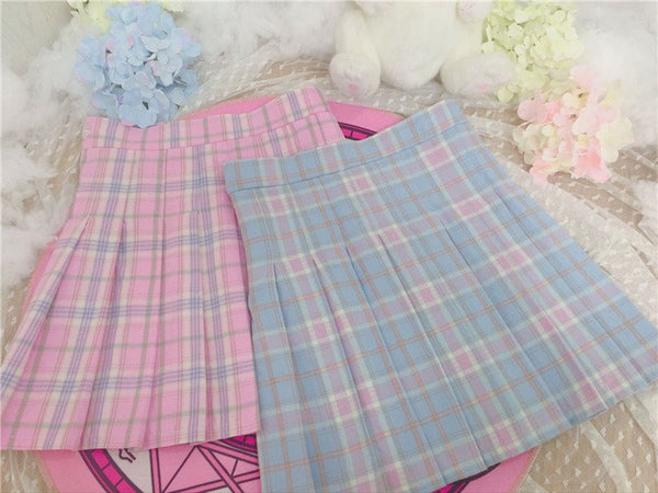 Blue/pink Lattice Tall Waist Pleated Skirt