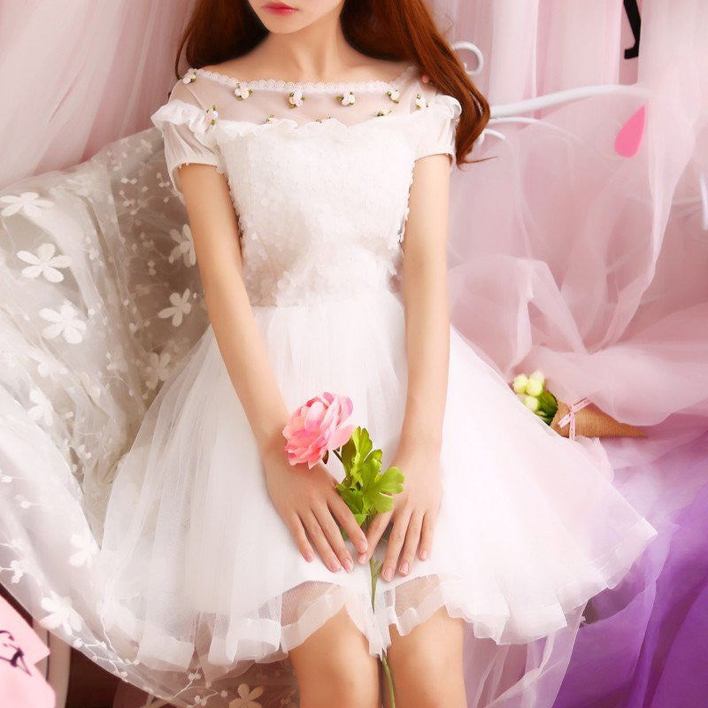 Japanese Sweet Princess Floral Lace Dress - kawaiimoristore