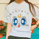 White Cartoon Sailor Moon T-shirt White Cartoon Sailor Moon T-shirt