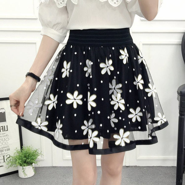 Sweet Flower Tall Waist Tutu Skirt KW179855