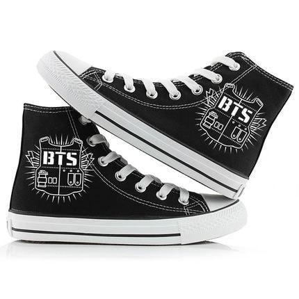 Black/White BTS High Sneakers