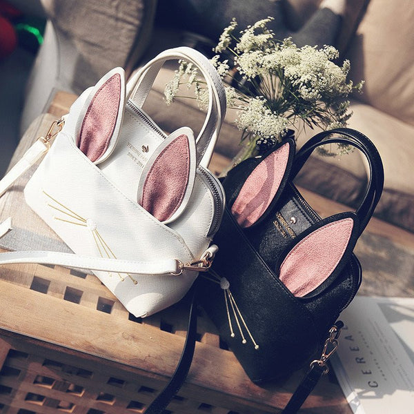 Black/white Bunny Ear Bag