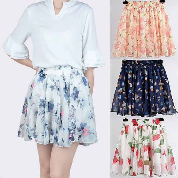 Sweet Printed Chiffon Skirt KW179690