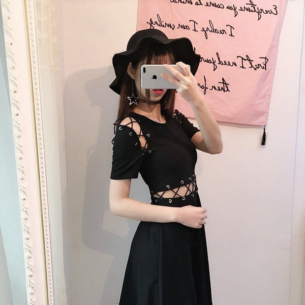 Black Criss-cross Dress - kawaiimoristore