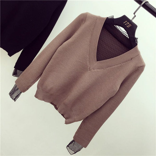 Fashion Net Yarn V-neck Sweater