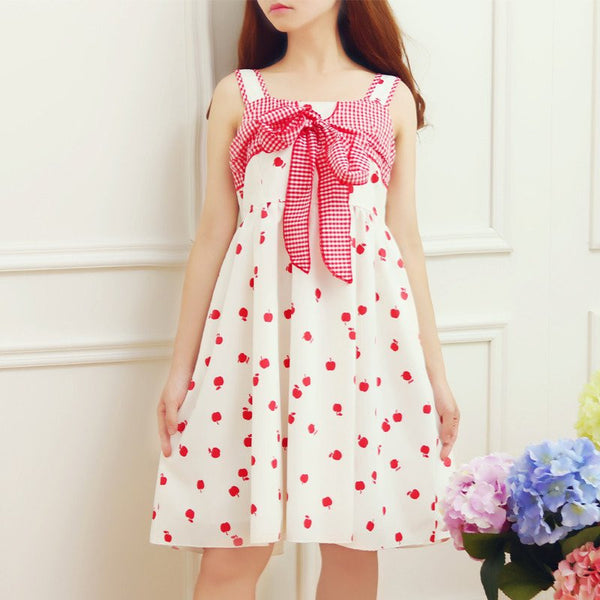 Japanese Sweet Lovely Bow Apple Dress