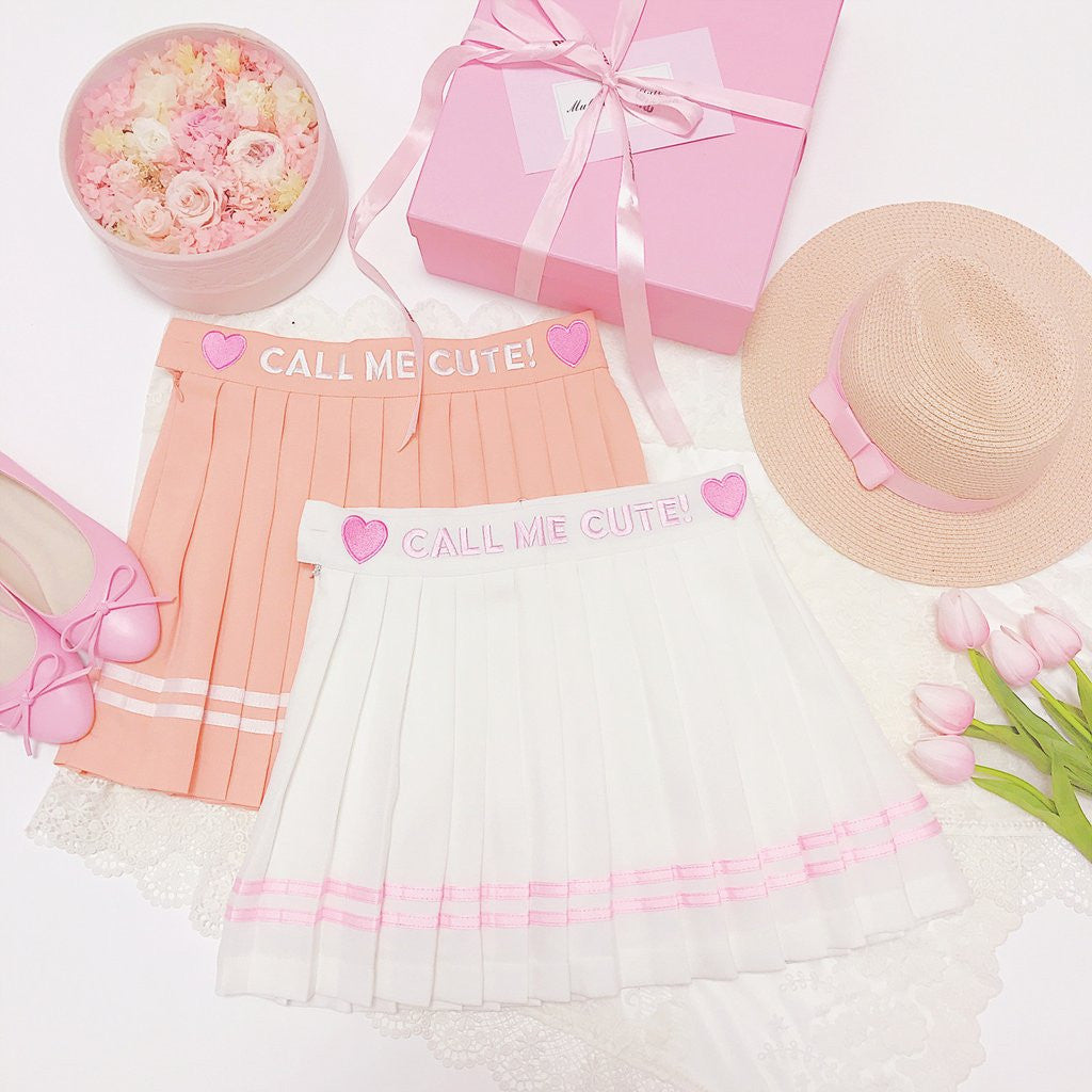 Light Orange/White Sweet Pleated Skirt KW179856 - kawaiimoristore
