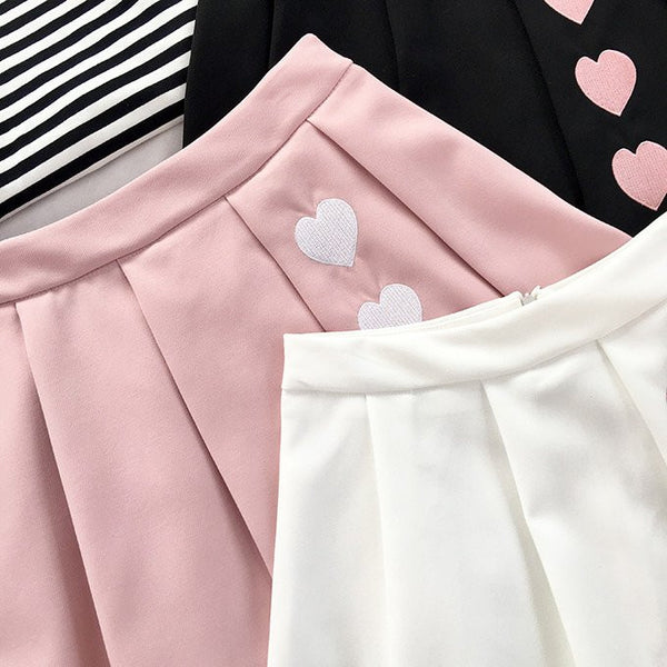 Black/pink/white Students Pleated Skirt KW179263