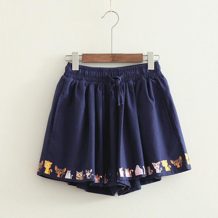 3 Colors Lovely Cats Pleated Shorts K14799