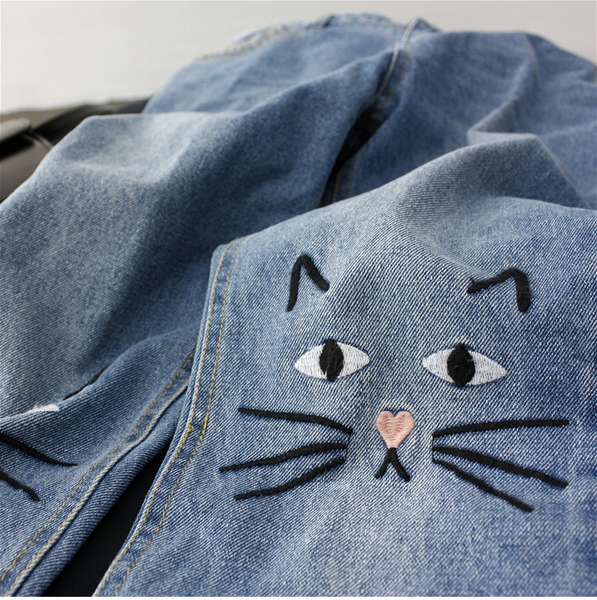 Cute Cat Printing Jeans KW179379