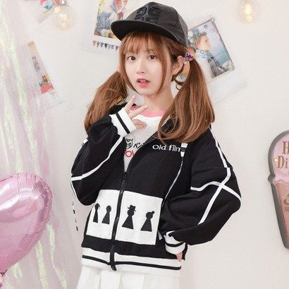 "Japanese Sweet White Square Embroidered Cartoon Poin ""Old Film Black & White Lace Hooded Zipper Sweater jacket"