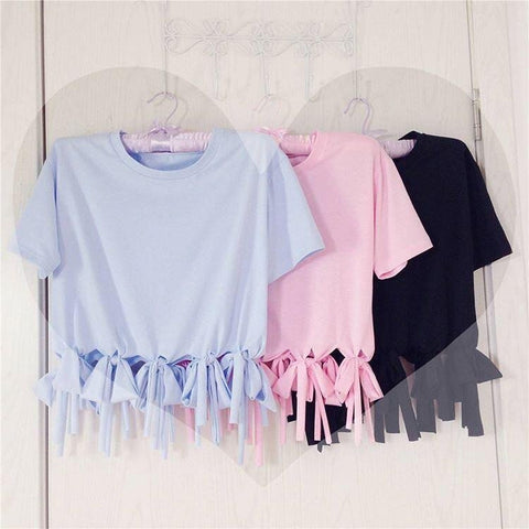 Blue/pink/black tassel t-shirt