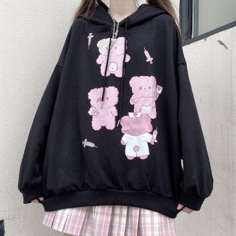 Black Cute Bear Printed Hoodie K15281 - kawaiimoristore