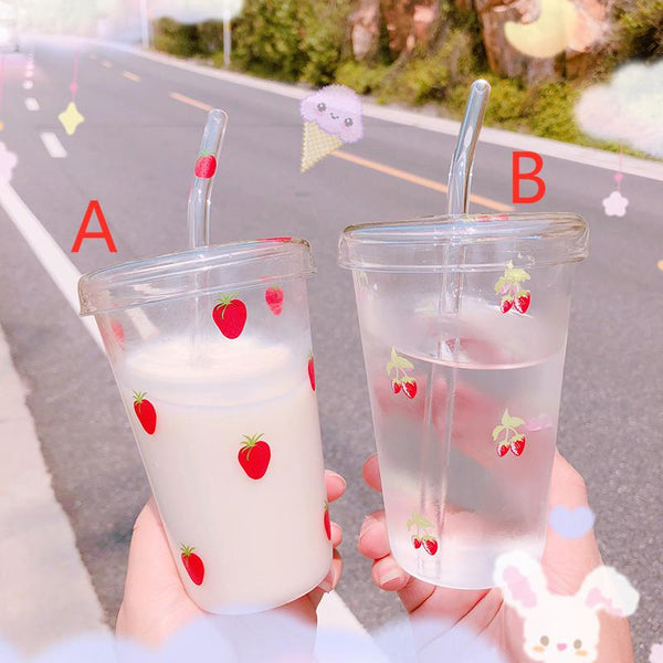 Transparent Strawberry Water Cups