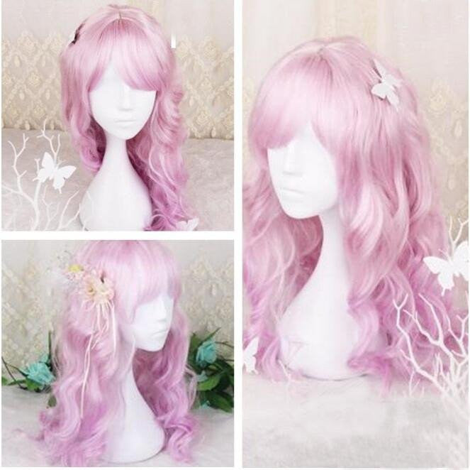 Cosplay Pink Gradient Purple Curly Hair Wig