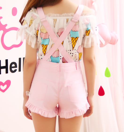 Sweet ice cream T-shirt + falbala bowknot straps shorts two-piece