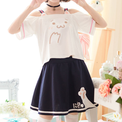 Cute Kawaii Cat's Paw Dew Shoulder T-shirt + skirt KW179436