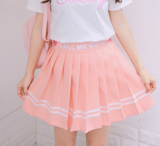 Light Orange/White Sweet Pleated Skirt KW179856