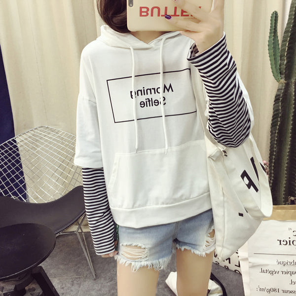 White/Black/Blue Morning Selfie Hoodie Jumper K13877