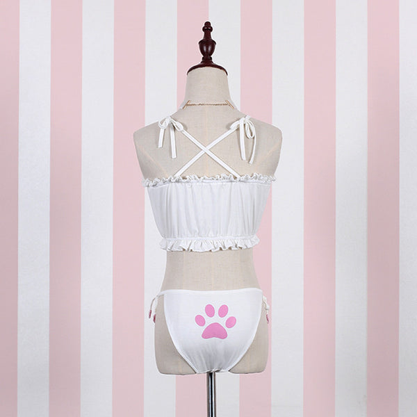 White/Black Kawaii Meow Cat Keyhole Embroidery Ruffle Tube Top Bra Lingerie Set KW165464