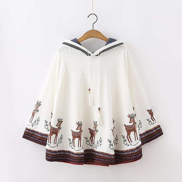 White/Light Grey/Navy Kawaii Sika Deer Hoodie Poncho K12872