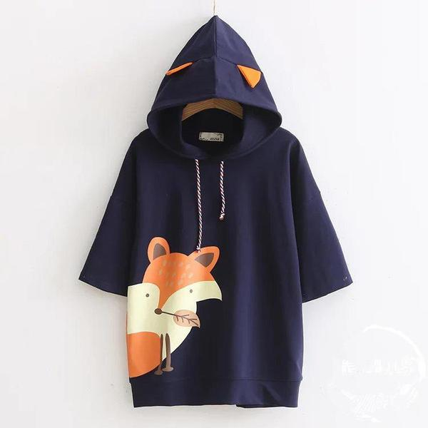 White/Navy Kawaii Little Prince Fox Hoodie KW1710985