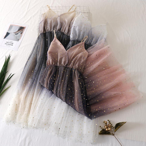 White/Pink/Beige Gradient Galaxy Tulle Gallus Dress K13800