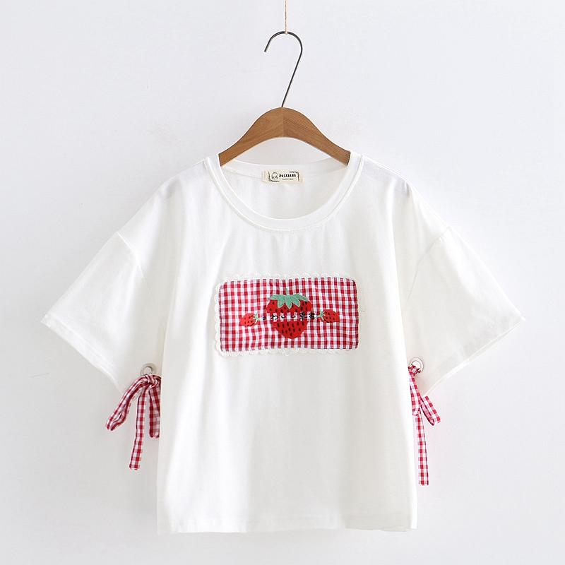 White/Pink/Black Sweet Strawberry Laced Tee Shirt K13956