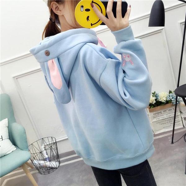 White/Pink/Blue Kawaii Bunny Ears Hoodie Jumper K12939