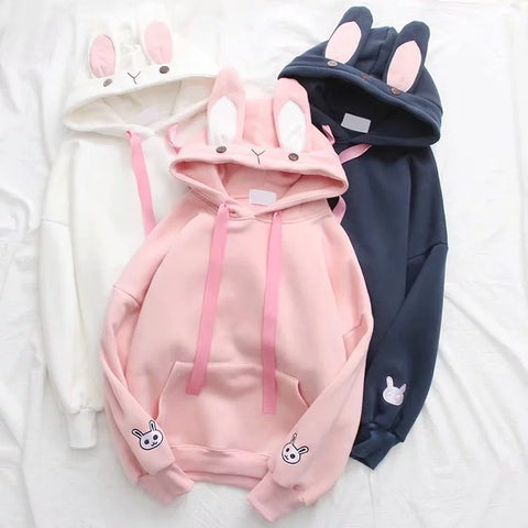 White/Pink/Navy Cute Bunny Ears Hoodie Jumper KW1711213