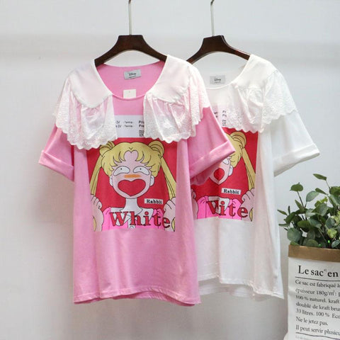 White/Pink Sailor Moon Falbala Collar Tee Shirt K13736