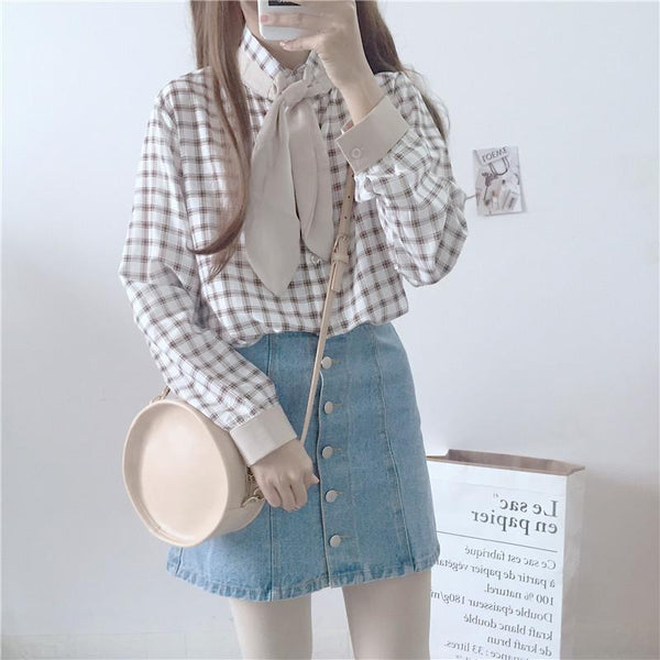 White/Pink Sweet Grid Bunny Bow Blouse K12789