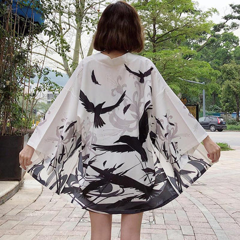 White Flying Birds Kimono Coat K13962