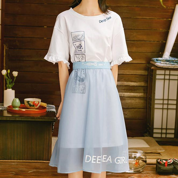 White Kawaii Deep Sea Dress Set K12787