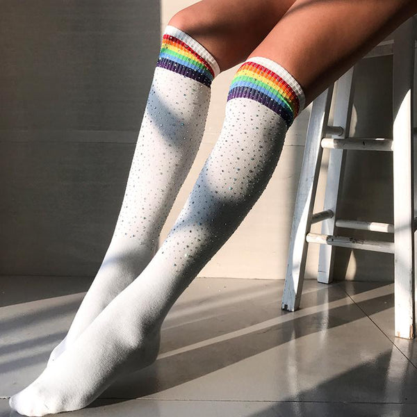 White Rainbow Crystal Long Socks K13722