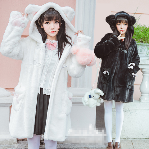 White/Black Cat Ear Thick Plush Hoodie Coat K12645