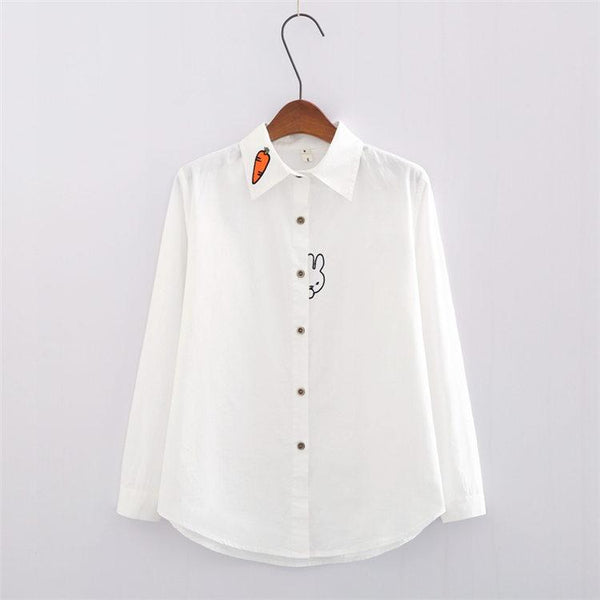 White/Blue Students Carrot Embroidered Shirt KW1711104